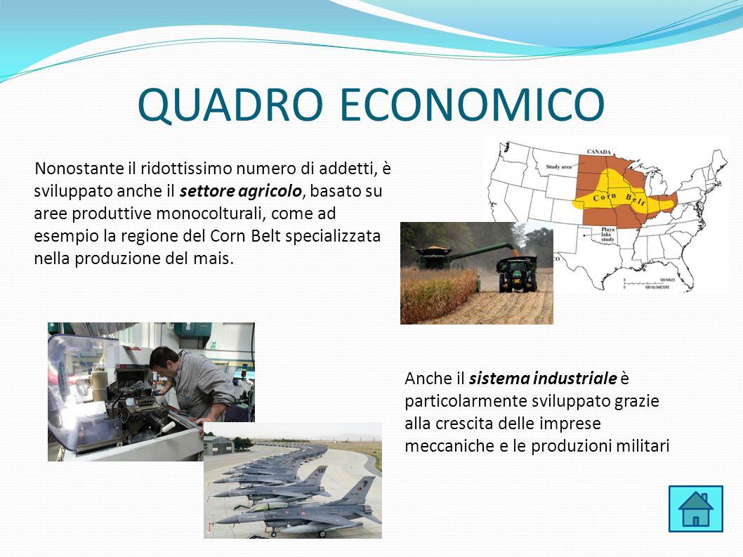 QUADRO ECONOMICO Nonostante il ridottissimo numero di addetti, è sviluppato anche il settore agricolo, basato su aree produttive monocolturali, come a