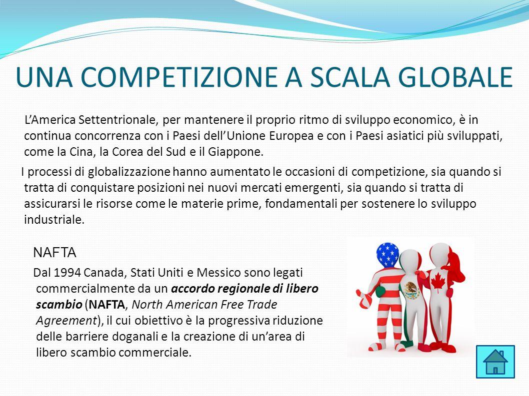 UNA COMPETIZIONE A SCALA GLOBALE L'America Settentrionale, per mantenere il proprio ritmo di sviluppo economico, è in continua concorrenza con i Paesi