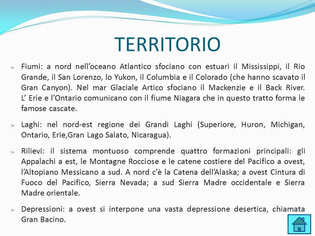 TERRITORIO ➢ Fiumi: a nord nell'oceano Atlantico sfociano con estuari il Mississippi, il Rio Grande, il San Lorenzo, lo Yukon, il Columbia e il Colora