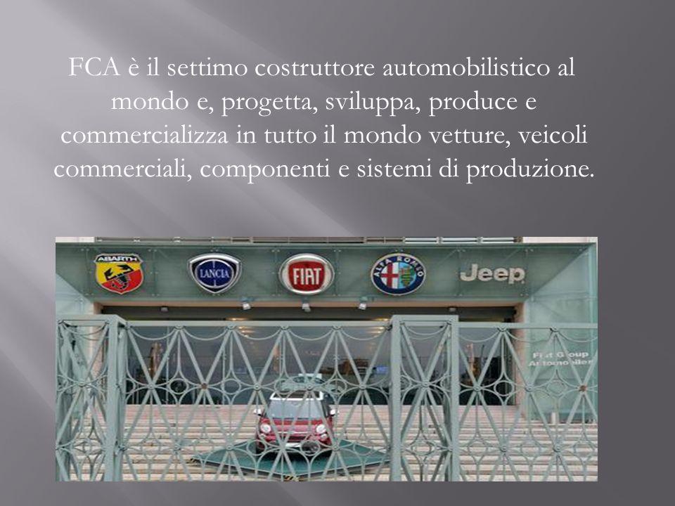 FCA è il settimo costruttore automobilistico al mondo e, progetta, sviluppa, produce e commercializza in tutto il mondo vetture, veicoli commerciali,