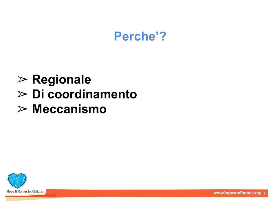 Perche' ➢ Regionale ➢ Di coordinamento ➢ Meccanismo