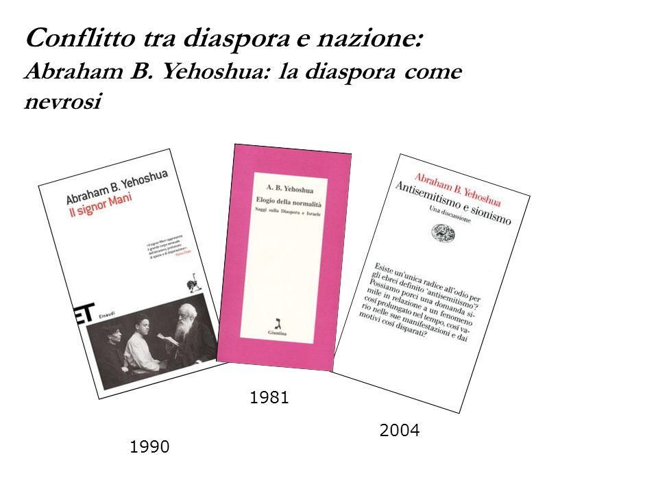 2004 1990 1981 Conflitto tra diaspora e nazione: Abraham B. Yehoshua: la diaspora come nevrosi