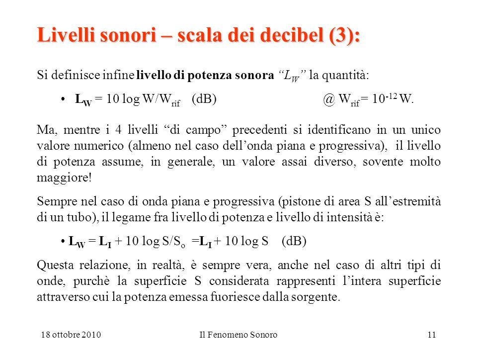 18 ottobre 2010Il Fenomeno Sonoro11 Livelli sonori – scala dei decibel (3): Si definisce infine livello di potenza sonora L W la quantità: L W = 10 log W/W rif (dB) @ W rif = 10 -12 W.