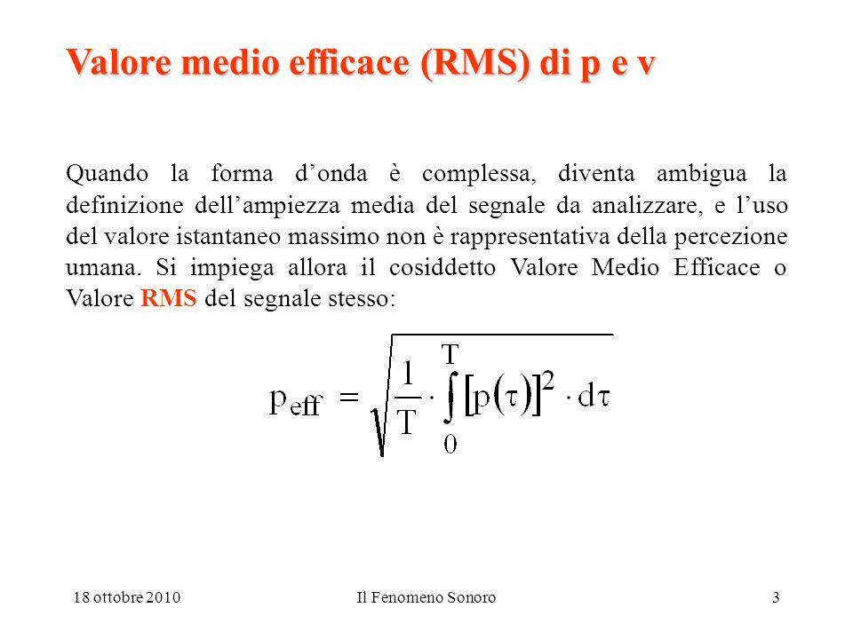 18 ottobre 2010Il Fenomeno Sonoro3 Valore medio efficace (RMS) di p e v Quando la forma d'onda è complessa, diventa ambigua la definizione dell'ampiezza media del segnale da analizzare, e l'uso del valore istantaneo massimo non è rappresentativa della percezione umana.