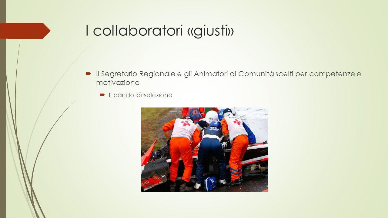 I collaboratori «giusti»  Il Segretario Regionale e gli Animatori di Comunità scelti per competenze e motivazione  Il bando di selezione
