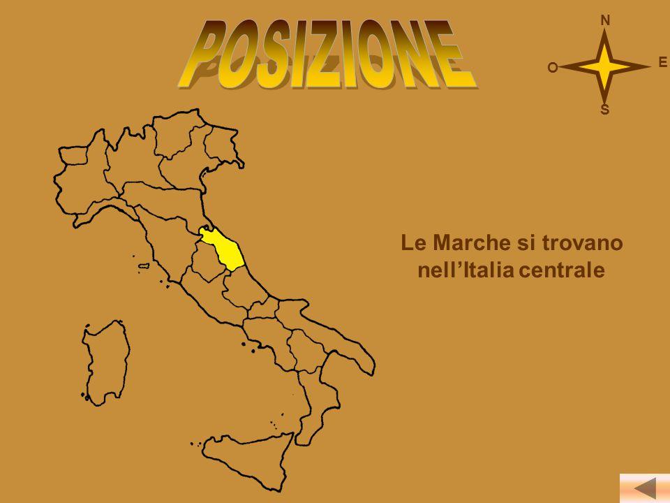Le Marche si trovano nell'Italia centrale N S O E