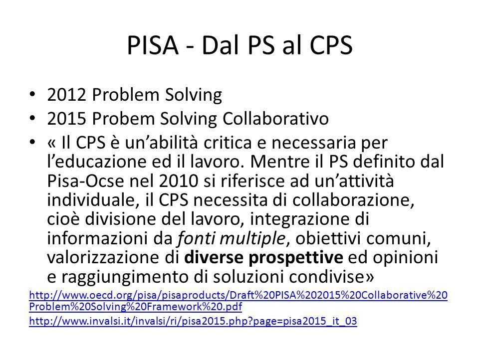 PISA - Dal PS al CPS 2012 Problem Solving 2015 Probem Solving Collaborativo « Il CPS è un'abilità critica e necessaria per l'educazione ed il lavoro.