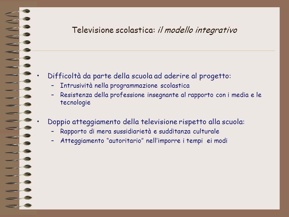 Televisione scolastica: il modello integrativo Difficoltà da parte della scuola ad aderire al progetto: –Intrusività nella programmazione scolastica –