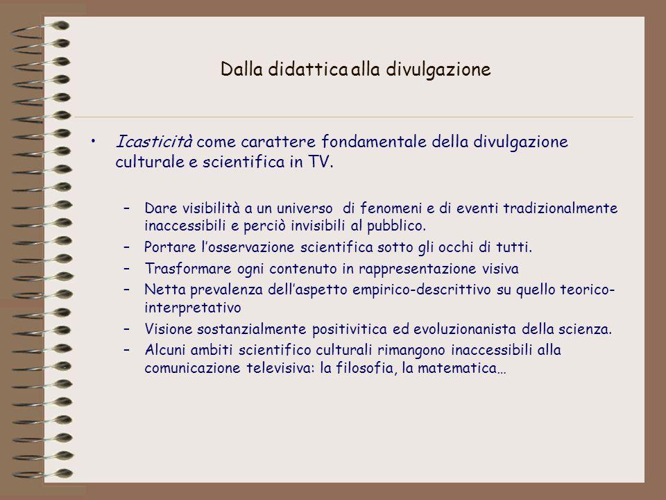 Dalla didattica alla divulgazione Icasticità come carattere fondamentale della divulgazione culturale e scientifica in TV. –Dare visibilità a un unive