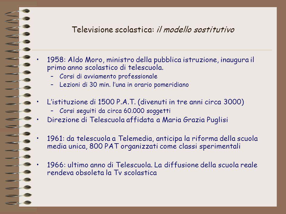 Televisione scolastica: il modello sostitutivo 1958: Aldo Moro, ministro della pubblica istruzione, inaugura il primo anno scolastico di telescuola. –