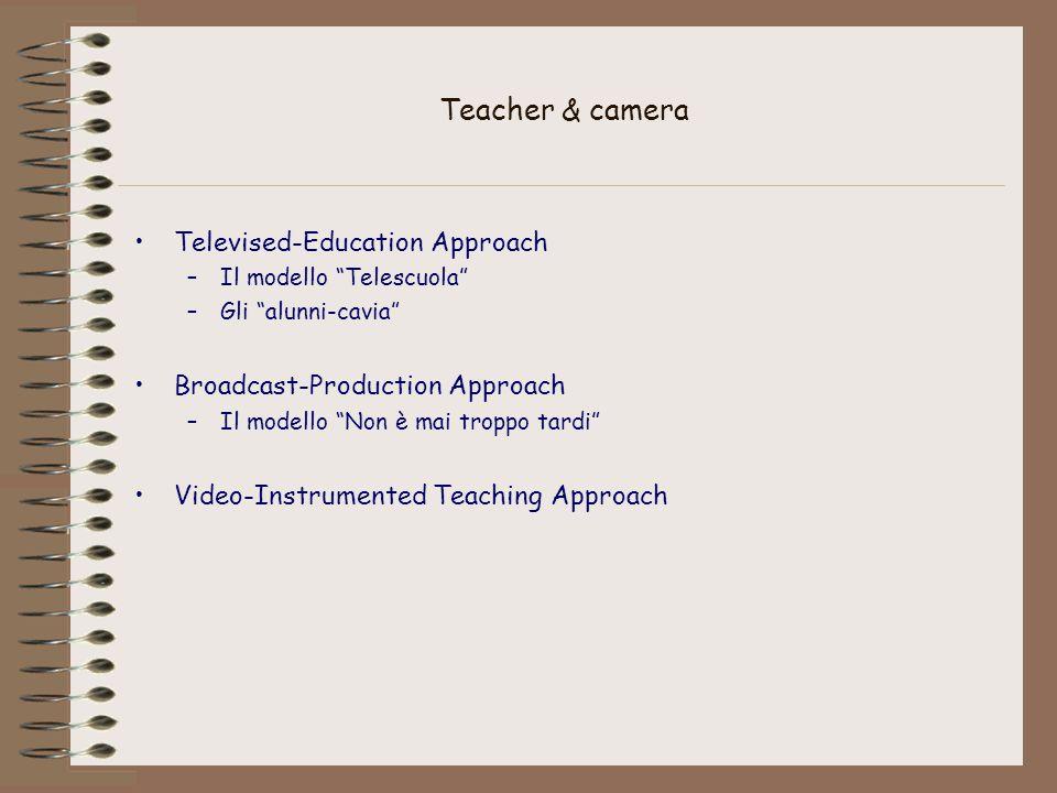 Teacher & camera Televised-Education Approach –Il modello Telescuola –Gli alunni-cavia Broadcast-Production Approach –Il modello Non è mai troppo tardi Video-Instrumented Teaching Approach