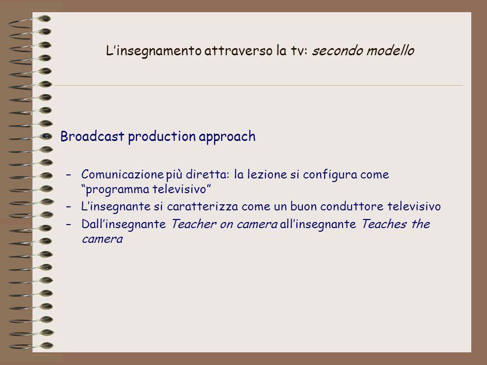 L'insegnamento attraverso la tv: terzo modello Video-instrumented teaching approach –Uso attivo della televisione a scuola, come strumento che arricchisce la didattica dell'insegnante –La tv come laboratorio didattico nella scuola, sistema a circuito chiuso –L'insegnante in tv è lo stesso che segue i ragazzi