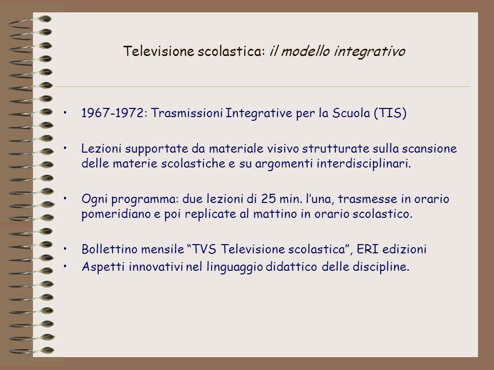 Televisione scolastica: il modello integrativo 1967-1972: Trasmissioni Integrative per la Scuola (TIS) Lezioni supportate da materiale visivo strutturate sulla scansione delle materie scolastiche e su argomenti interdisciplinari.