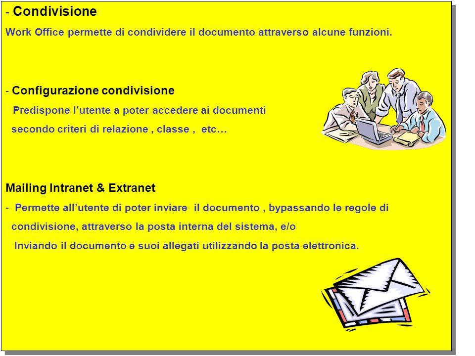 - Condivisione Work Office permette di condividere il documento attraverso alcune funzioni.