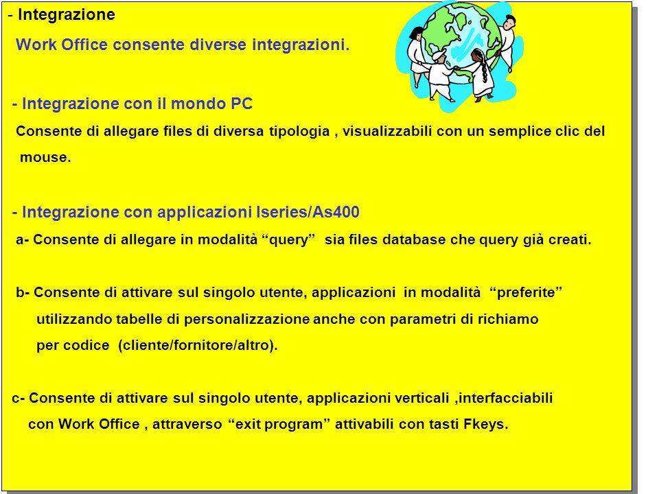 - Integrazione Work Office consente diverse integrazioni.