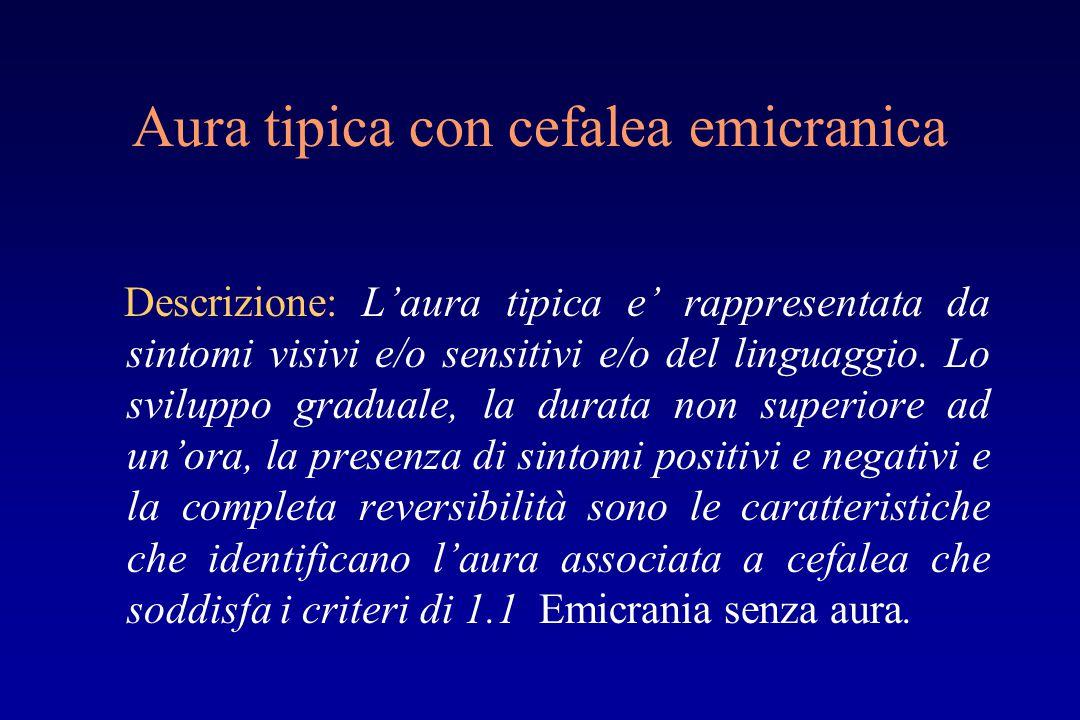 Aura tipica con cefalea emicranica Descrizione: L'aura tipica e' rappresentata da sintomi visivi e/o sensitivi e/o del linguaggio.