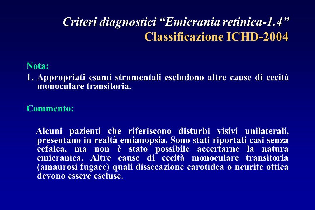 Criteri diagnostici Emicrania retinica-1.4 Classificazione ICHD-2004 Nota: 1.Appropriati esami strumentali escludono altre cause di cecità monoculare transitoria.