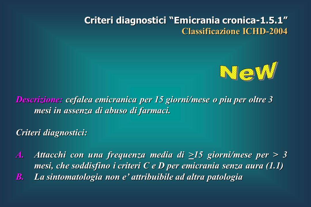 Criteri diagnostici Emicrania cronica-1.5.1 Classificazione ICHD-2004 Descrizione: cefalea emicranica per 15 giorni/mese o piu per oltre 3 mesi in assenza di abuso di farmaci.