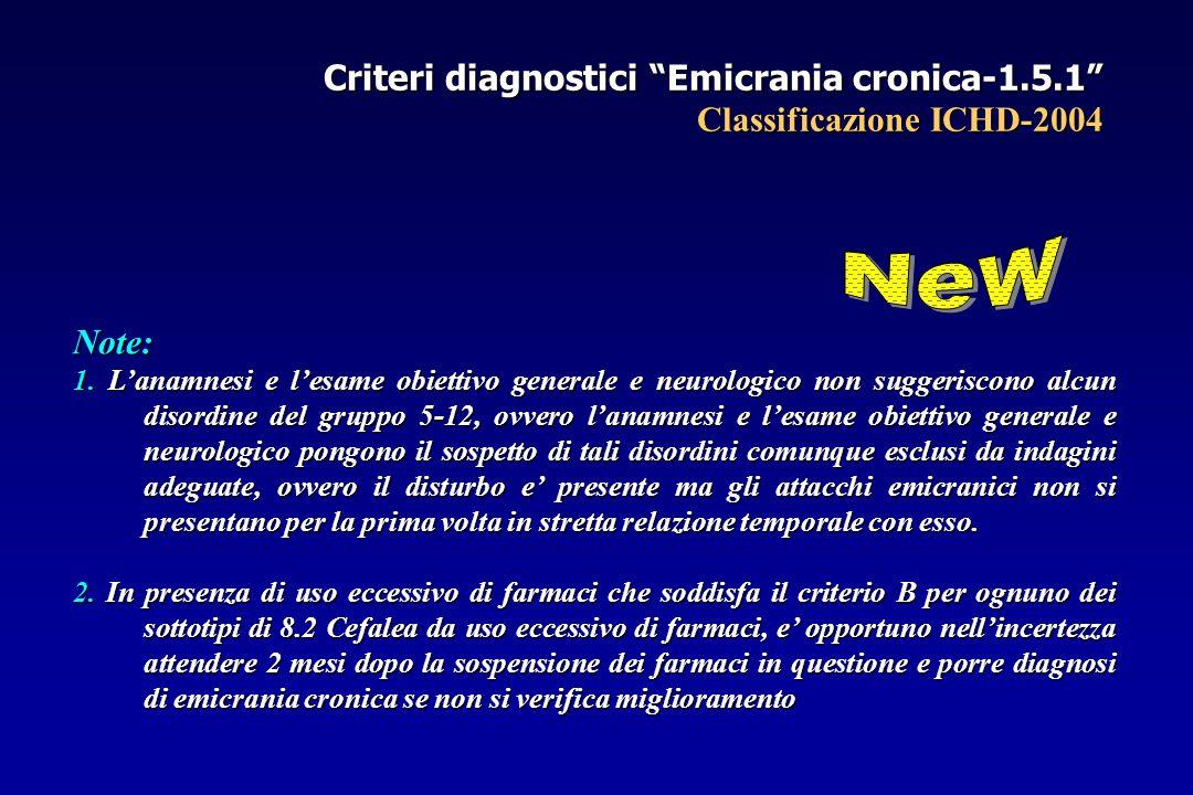 Criteri diagnostici Emicrania cronica-1.5.1 Classificazione ICHD-2004 Note: 1.