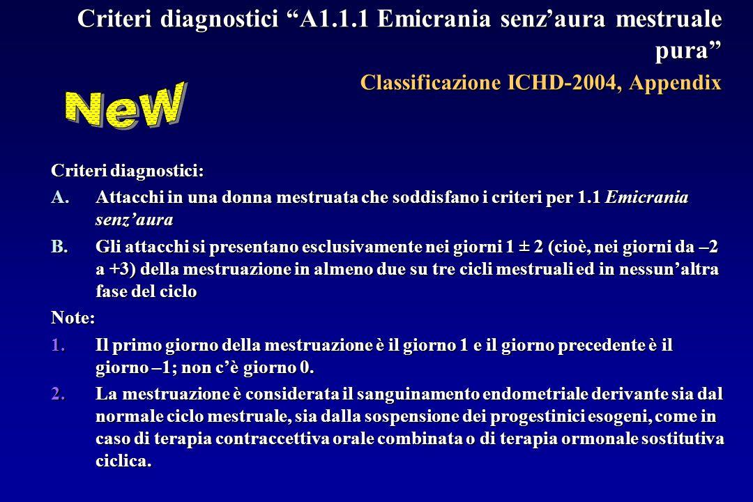 Criteri diagnostici A1.1.1 Emicrania senz'aura mestruale pura Classificazione ICHD-2004, Appendix Criteri diagnostici: A.Attacchi in una donna mestruata che soddisfano i criteri per 1.1 Emicrania senz'aura B.Gli attacchi si presentano esclusivamente nei giorni 1 ± 2 (cioè, nei giorni da –2 a +3) della mestruazione in almeno due su tre cicli mestruali ed in nessun'altra fase del ciclo Note: 1.Il primo giorno della mestruazione è il giorno 1 e il giorno precedente è il giorno –1; non c'è giorno 0.