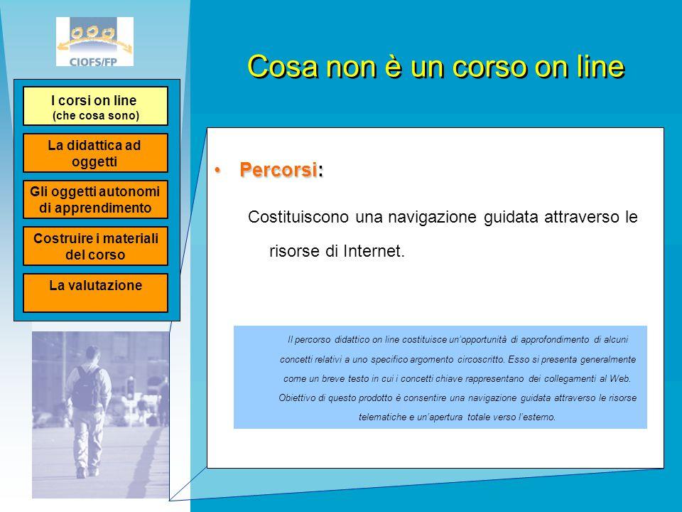 Cosa non è un corso on line Percorsi:Percorsi: Costituiscono una navigazione guidata attraverso le risorse di Internet. Il percorso didattico on line
