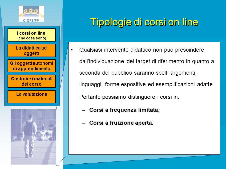 Tipologie di corsi on line Qualsiasi intervento didattico non può prescindere dall'individuazione del target di riferimento in quanto a seconda del pu