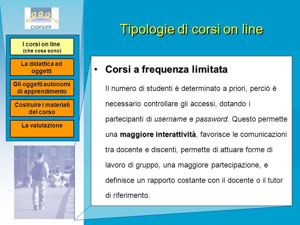 Tipologie di corsi on line Corsi a frequenza limitataCorsi a frequenza limitata maggiore interattività Il numero di studenti è determinato a priori, p