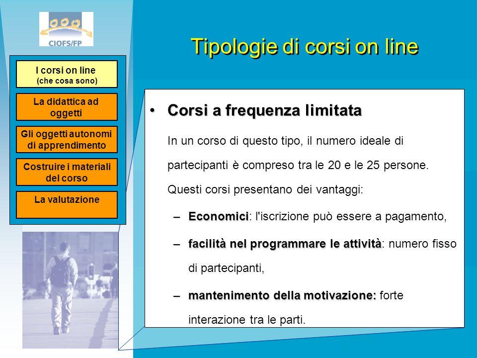 Tipologie di corsi on line Corsi a frequenza limitataCorsi a frequenza limitata In un corso di questo tipo, il numero ideale di partecipanti è compres