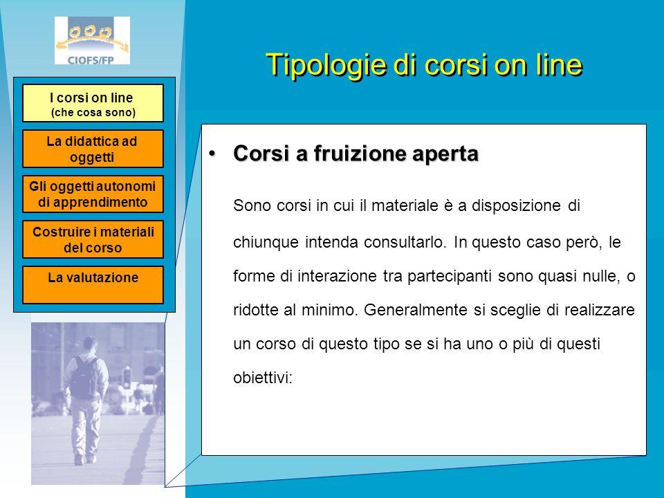 Tipologie di corsi on line Corsi a fruizione apertaCorsi a fruizione aperta Sono corsi in cui il materiale è a disposizione di chiunque intenda consul