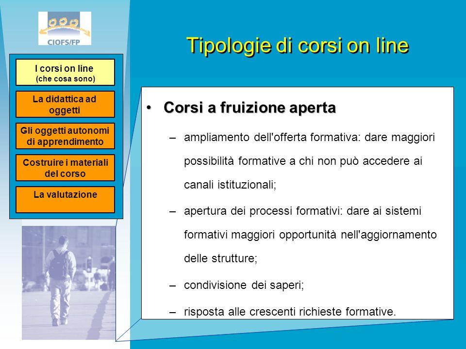 Tipologie di corsi on line Corsi a fruizione apertaCorsi a fruizione aperta –ampliamento dell'offerta formativa: dare maggiori possibilità formative a