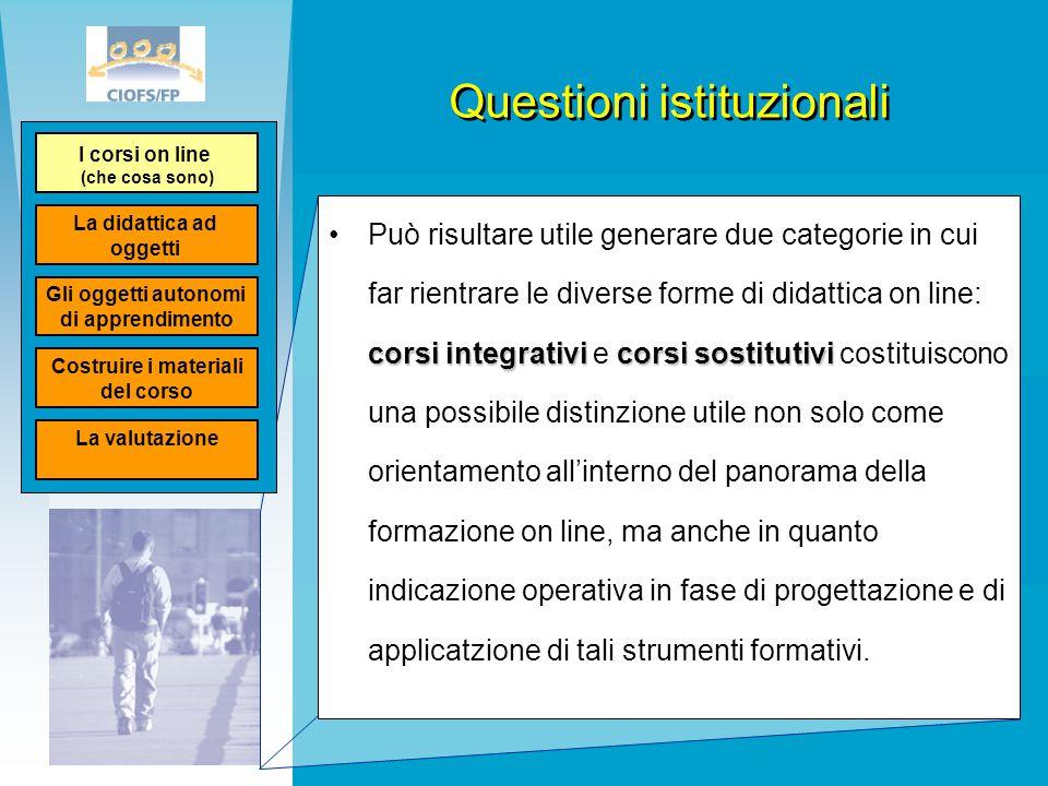 Questioni istituzionali corsi integrativicorsi sostitutiviPuò risultare utile generare due categorie in cui far rientrare le diverse forme di didattic