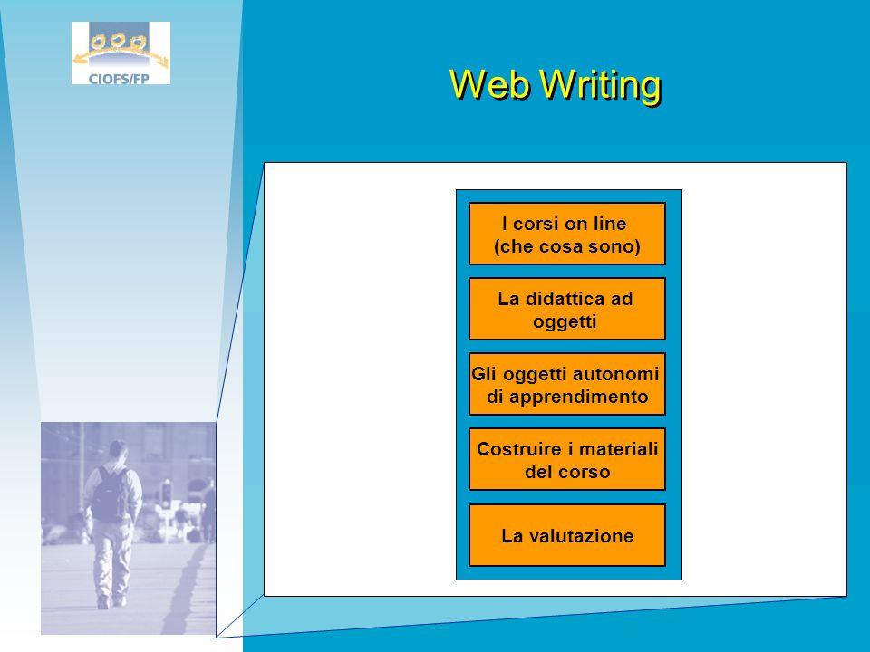 Web Writing La didattica ad oggetti I corsi on line (che cosa sono) Gli oggetti autonomi di apprendimento Costruire i materiali del corso La valutazio