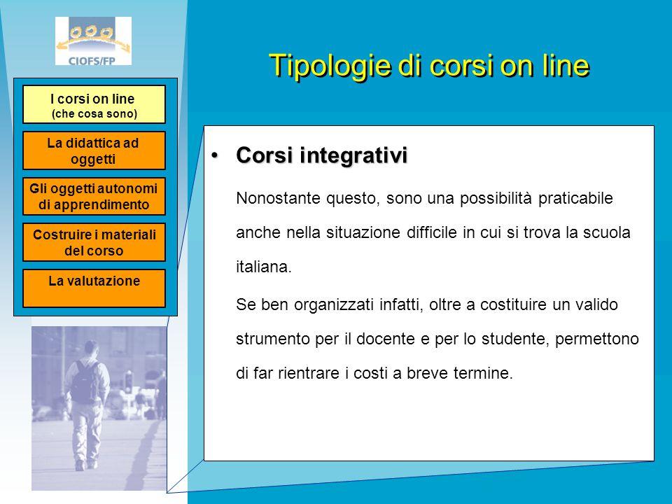 Tipologie di corsi on line Corsi integrativiCorsi integrativi Nonostante questo, sono una possibilità praticabile anche nella situazione difficile in