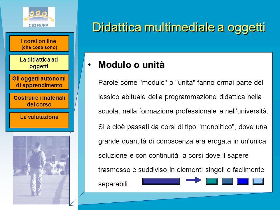 Didattica multimediale a oggetti Modulo o unitàModulo o unità Parole come