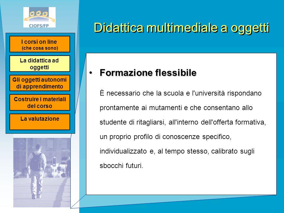 Didattica multimediale a oggetti Formazione flessibileFormazione flessibile È necessario che la scuola e l'università rispondano prontamente ai mutame