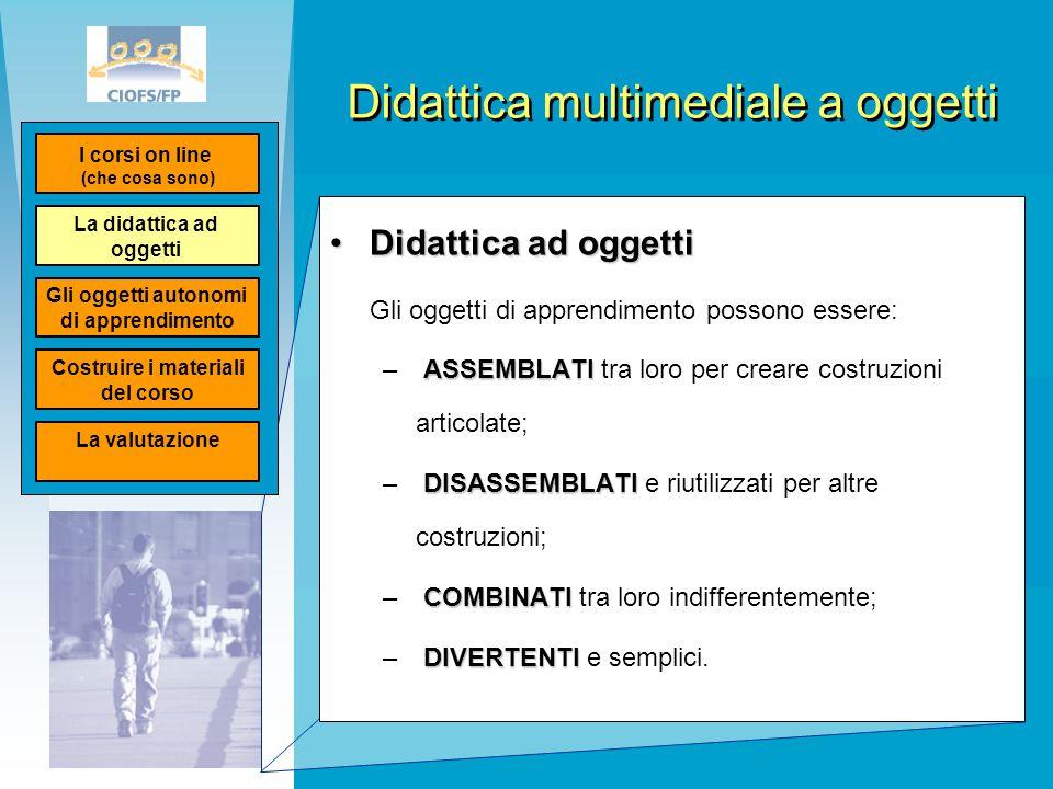 Didattica multimediale a oggetti Didattica ad oggettiDidattica ad oggetti Gli oggetti di apprendimento possono essere: ASSEMBLATI – ASSEMBLATI tra lor