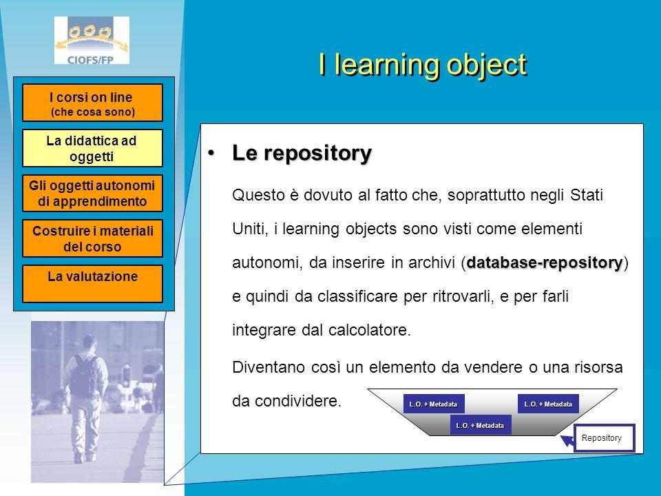 I learning object Le repositoryLe repository database-repository Questo è dovuto al fatto che, soprattutto negli Stati Uniti, i learning objects sono