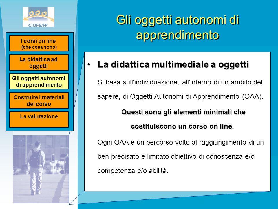 Gli oggetti autonomi di apprendimento La didattica multimediale a oggettiLa didattica multimediale a oggetti Si basa sull'individuazione, all'interno