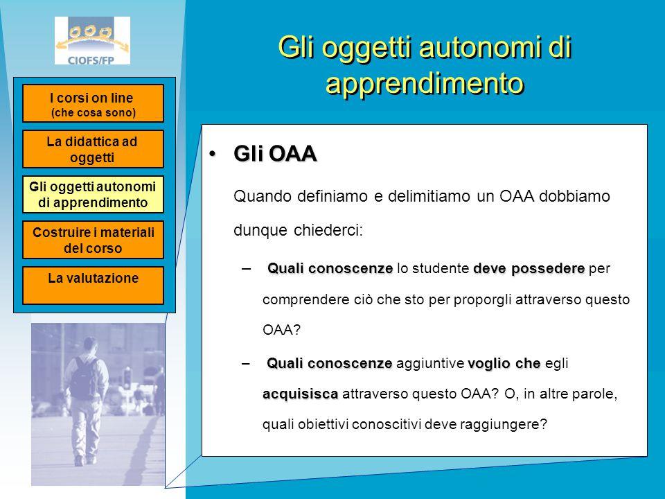 Gli oggetti autonomi di apprendimento Gli OAAGli OAA Quando definiamo e delimitiamo un OAA dobbiamo dunque chiederci: Quali conoscenzedeve possedere –