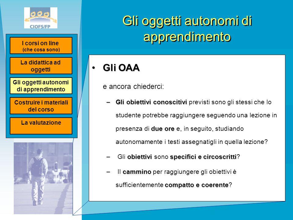 Gli oggetti autonomi di apprendimento Gli OAAGli OAA e ancora chiederci: –Gli obiettivi conoscitivi due ore –Gli obiettivi conoscitivi previsti sono g