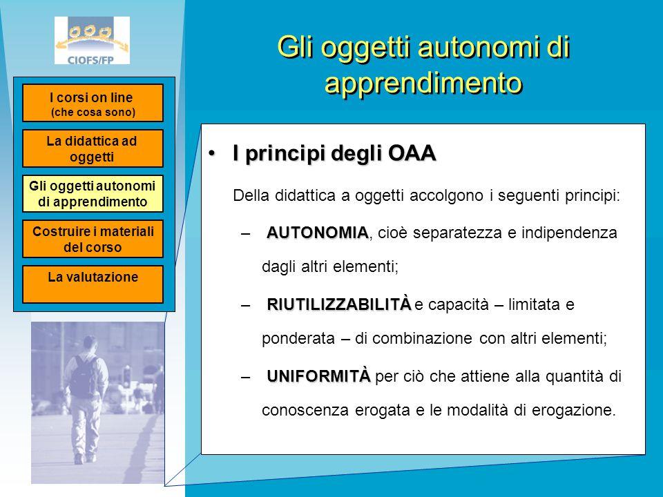 Gli oggetti autonomi di apprendimento I principi degli OAAI principi degli OAA Della didattica a oggetti accolgono i seguenti principi: AUTONOMIA – AU