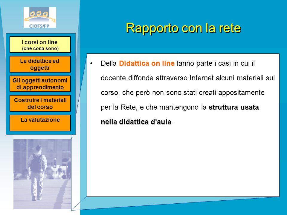 Rapporto con la rete Didattica on line struttura usata nella didattica d'aulaDella Didattica on line fanno parte i casi in cui il docente diffonde att