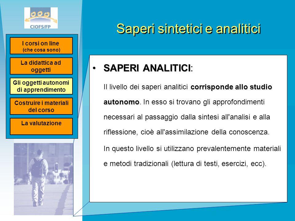 Saperi sintetici e analitici SAPERI ANALITICISAPERI ANALITICI: corrisponde allo studio autonomo Il livello dei saperi analitici corrisponde allo studi