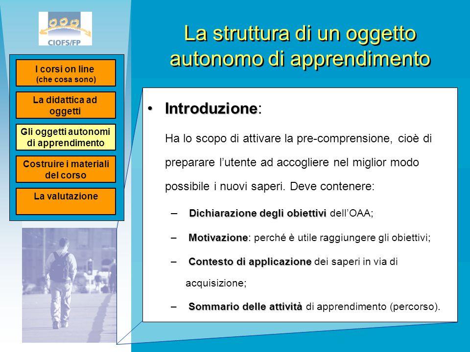 La struttura di un oggetto autonomo di apprendimento IntroduzioneIntroduzione: Ha lo scopo di attivare la pre-comprensione, cioè di preparare l'utente