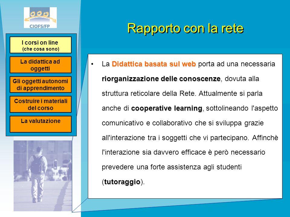 Rapporto con la rete Didattica basata sul web riorganizzazione delle conoscenze cooperative learning tutoraggioLa Didattica basata sul web porta ad un