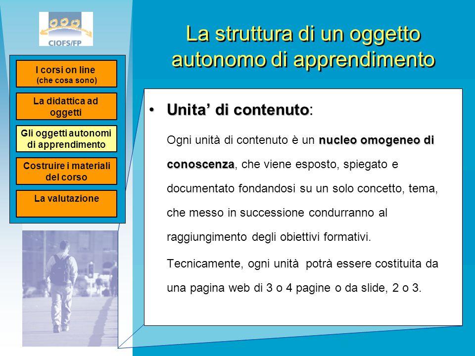 La struttura di un oggetto autonomo di apprendimento Unita' di contenutoUnita' di contenuto: nucleo omogeneo di conoscenza Ogni unità di contenuto è u