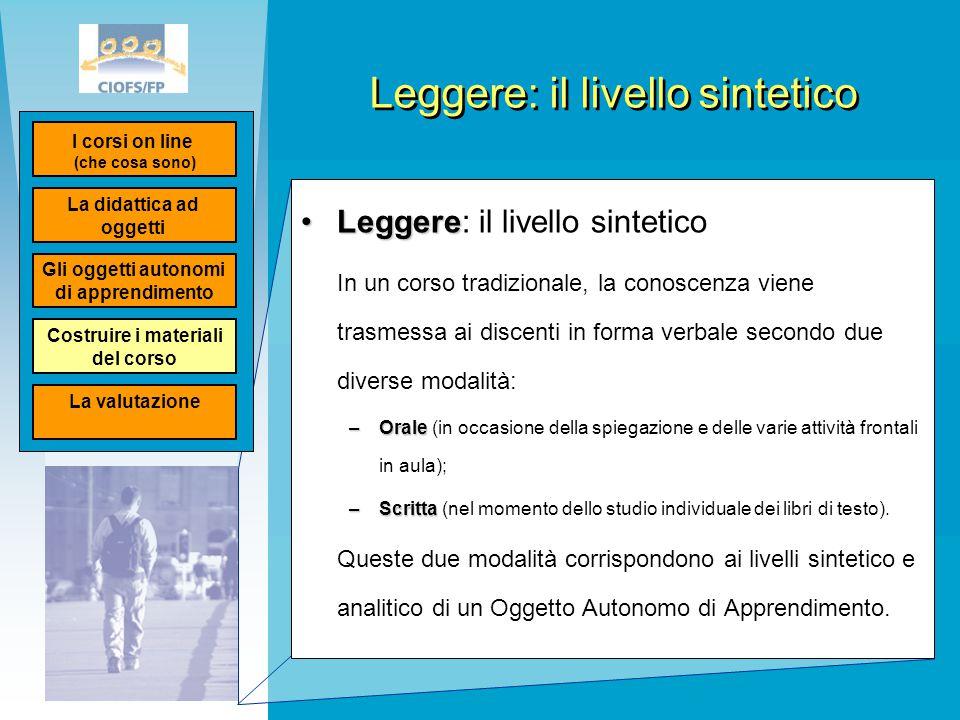 Leggere: il livello sintetico LeggereLeggere: il livello sintetico In un corso tradizionale, la conoscenza viene trasmessa ai discenti in forma verbal