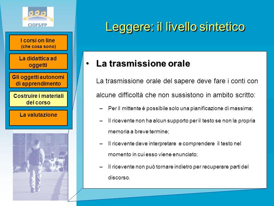 Leggere: il livello sintetico La trasmissione oraleLa trasmissione orale La trasmissione orale del sapere deve fare i conti con alcune difficoltà che