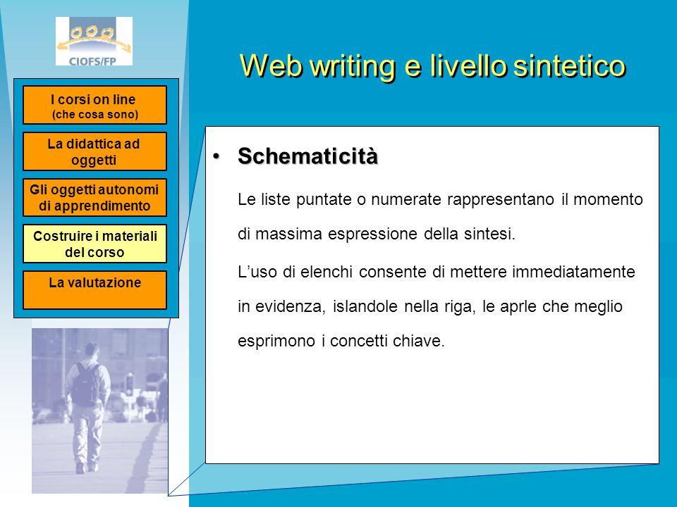 Web writing e livello sintetico SchematicitàSchematicità Le liste puntate o numerate rappresentano il momento di massima espressione della sintesi. L'