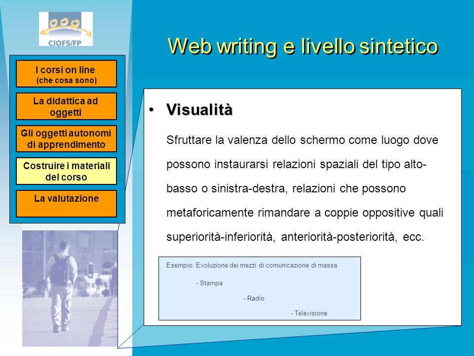 Web writing e livello sintetico VisualitàVisualità Sfruttare la valenza dello schermo come luogo dove possono instaurarsi relazioni spaziali del tipo